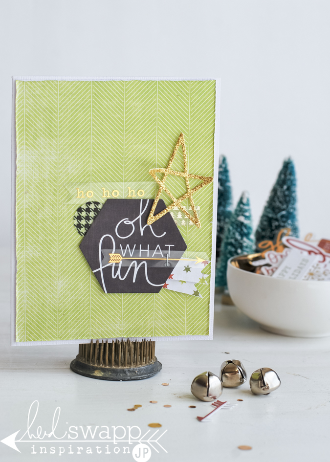 Oh What Fun Christmas Cards | 5 or less items to make fabulous Christmas Cards by @jamiepate for @heidiswapp