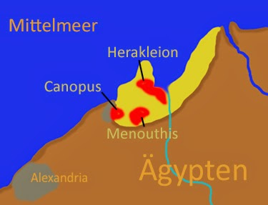 Map of Nile Delta showing ancient Canopus, Heracleion, and Alexandria