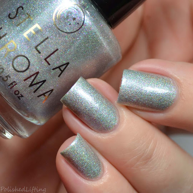 silver holo nail polish with colorful shimmer