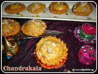 Chandrakala / Chandrakala Gujiya recipe, Chandrakala Recipe / Stuffed Sweet Puffs Recipe