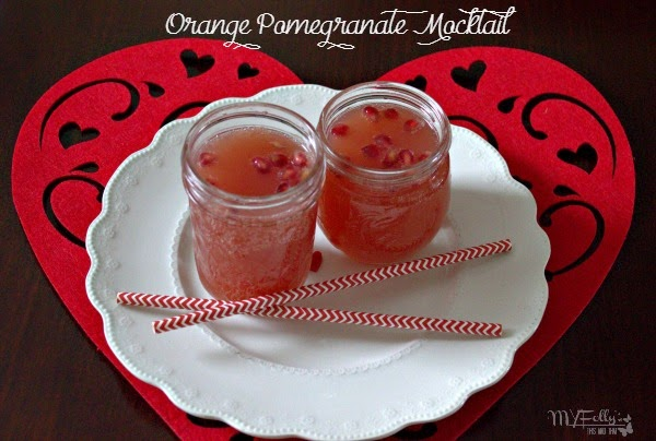 Valentine's Mocktail - Orange Pomegranate Mocktail / This and That #Valentines2015