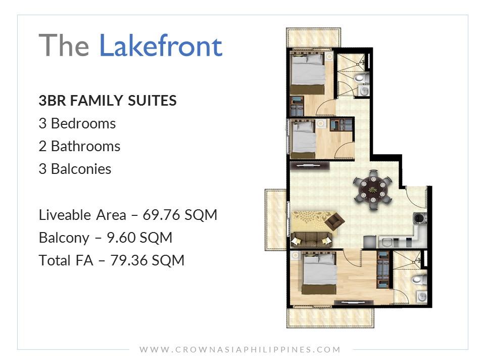 The Lakefront Santorini - Family Suite 3-Bedroom| Crown Asia Prime Condominium for Sale in Sucat Muntinlupa