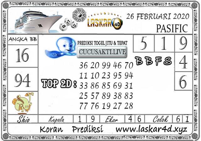 Prediksi Togel PASIFIC LASKAR4D 26 FEBRUARI 2020