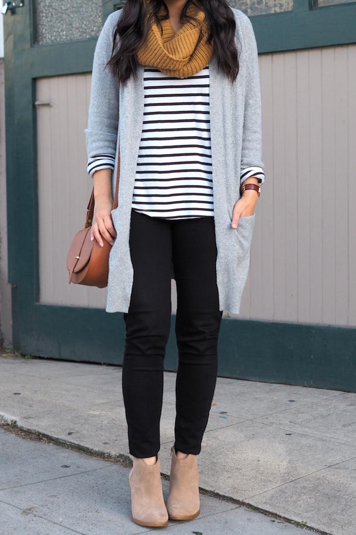 grey cardigan + black jeans + stripes + pop of mustard + tan booties