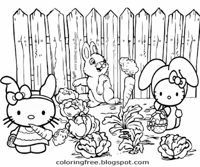 Easy clipart cabbage carrot farm field happy Hello Kitty rabbit cute bunny coloring sheets for kids