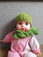 Czapka dla lalki, szalik dla lalki, ubrania, lala, ubrania z włóczki