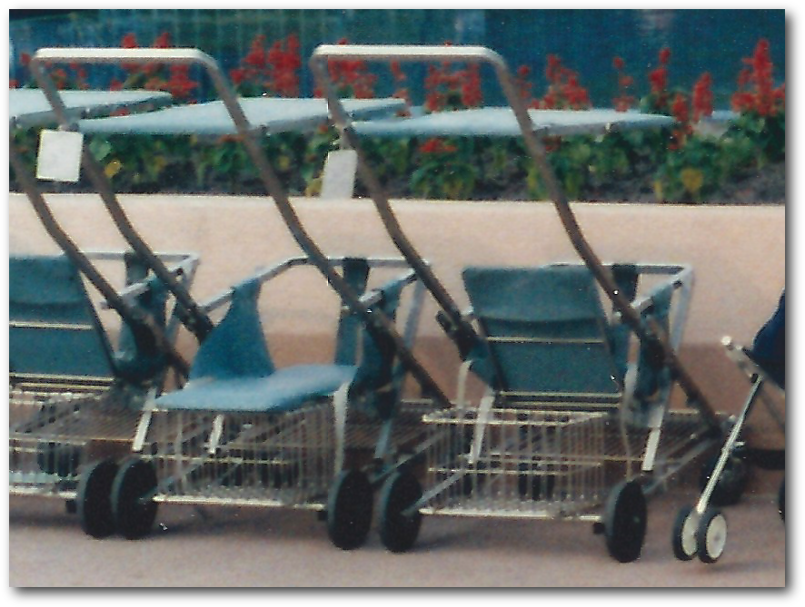 closeup image of the strollers from the 1985 photo of the Universe of Energy from 1985 at Epcot