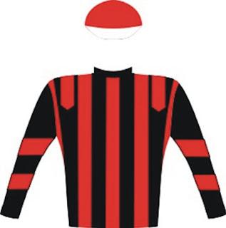 Nebula - Jockey Silks - Vodacom Durban July - Black, red stripes and epaulettes, black sleeves with two red hoops, red cap, white peak - Owner - Mr Edmond Siu