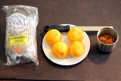 Indian coriander and zested Temple oranges, ready to add at flame-out.