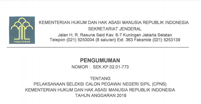 Lowongan Kerja CPNS 2018 Kementerian Hukum dan Hak Asasi Manusia