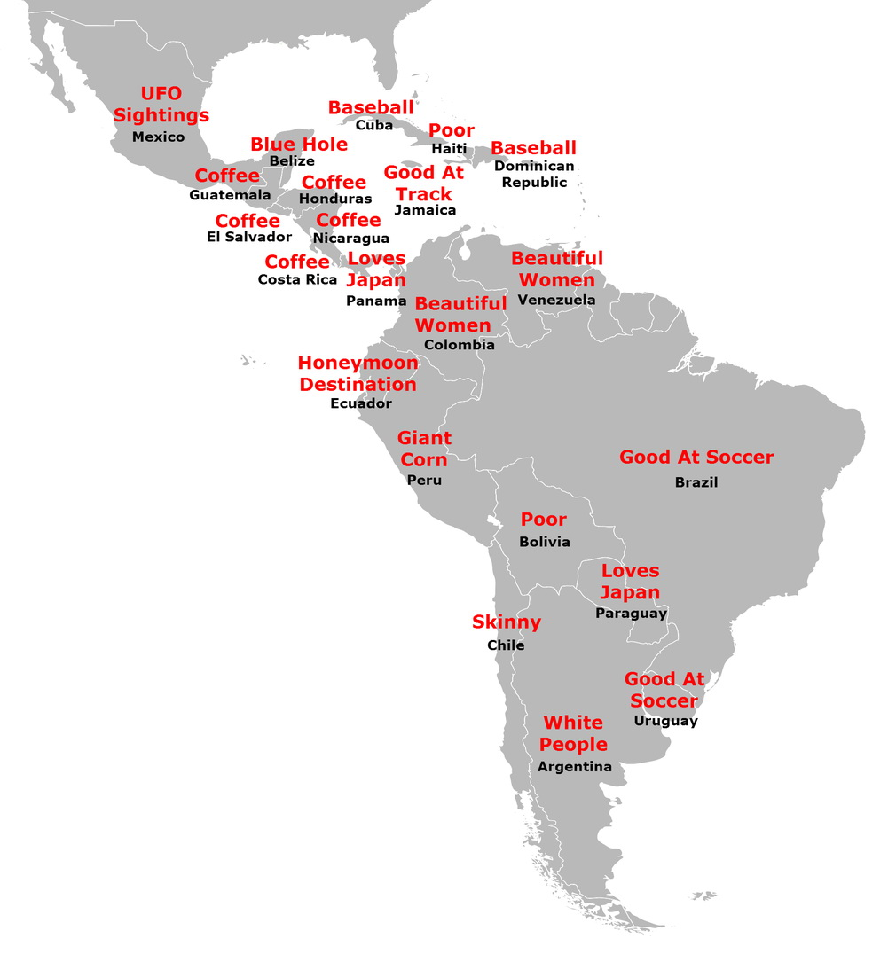"Map of ""Central & South American stereotypes"" of Japan"