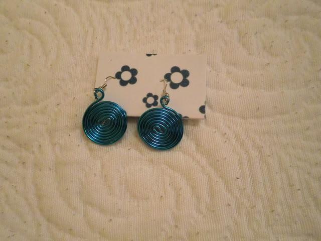 Pendientes en forma de espiral alambre azul