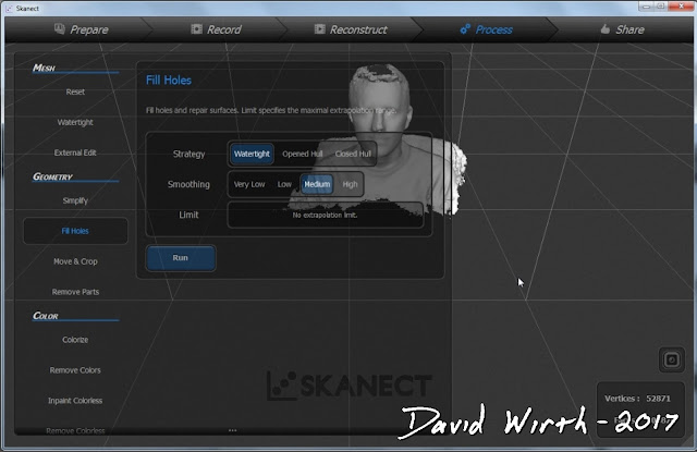 watertight, smooth, skanect, fill in gaps in 3d model