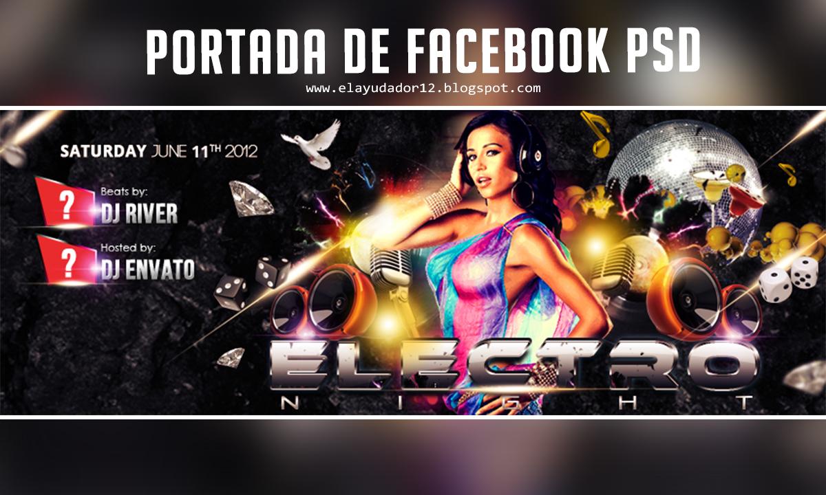portada para facebook electro nights psd gratis