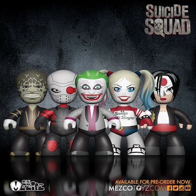 Suicide Squad Mini Mez-Itz Vinyl Figure Box Set by Mezco Toyz - The Joker, Harley Quinn, Deadshot, Killer Croc & Katana