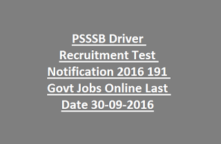 PSSSB Driver Recruitment Test Notification2016 191 Govt Jobs Online Last Date 30-09-2016