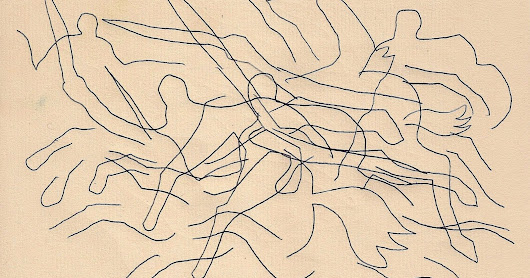 Line drawing titled 'Gallop' showing a mish mash of black lines drawn in ink on cream Fabriano paper from my sketchbook called, hold on I need to take it out of the scanner, Classic Navy (after the cover) Jan 2017- Feb 2018, 160 pages of great drawing by John Conway