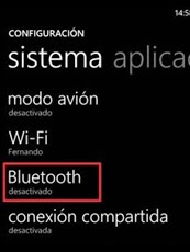 Deshabilitar Bluetooth Windows Phone