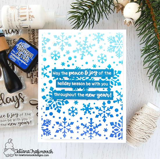 Stenciled Christmas Card by Tatiana Trafimovich | Snowfall Stencil and Sentiments of the Season Stamp Set by Newton's Nook Designs #newtonsnook