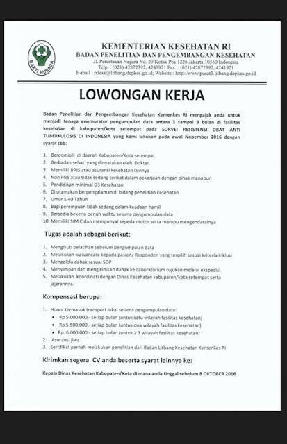 Rekrutmen Kementerian Kesehatan RI Seluruh Indonesia 2016