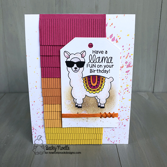 Have a llama fun on your birthday by Becky features Loveable Llamas and Fancy Edges Tag by Newton's Nook Designs; #newtonsnook