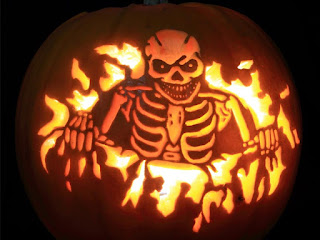 skull fire pumpkins carving arts for halloween