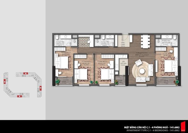 Thiết kế căn hộ C1 - 141,1m2 chung cư The Emerald