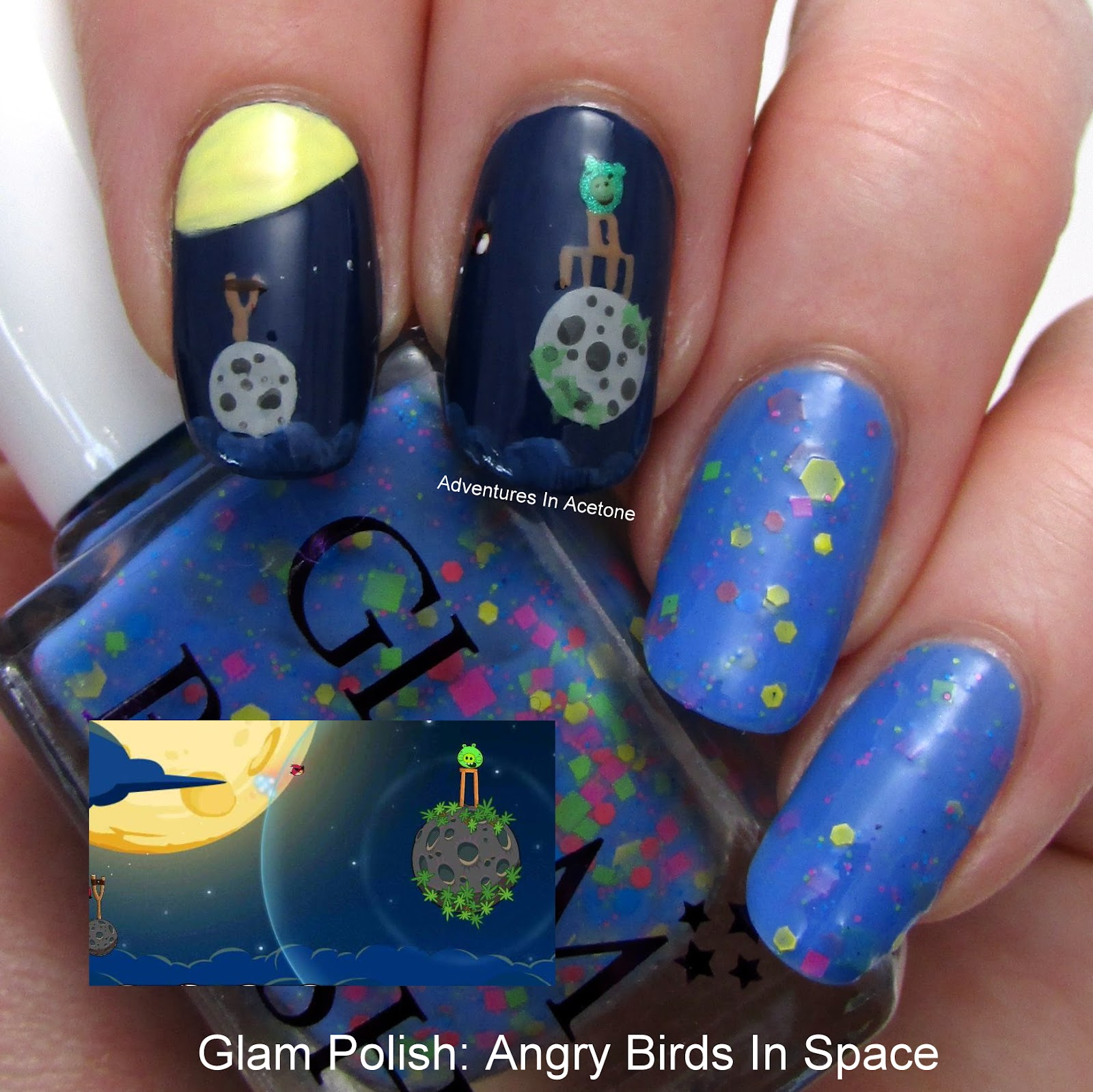 Glam Polish Angry Birds In Space + Nail Art!