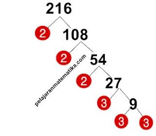 Pohon Faktor-Faktorisasi prima dari 216