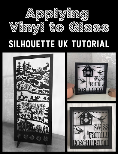 Applying vinyl to glass tutorial by Nadine Muir for UK Silhouette Blog.  Scherenschnitte inspired.