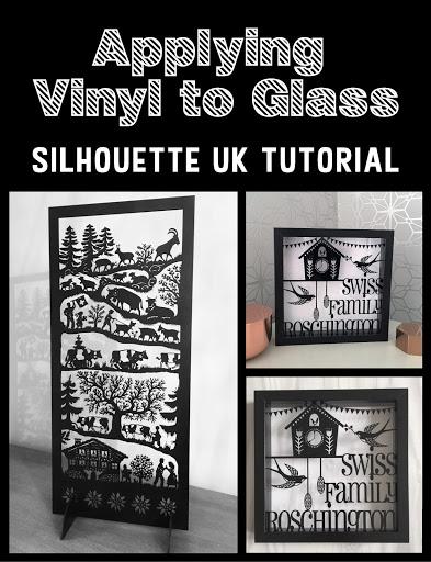 Applying vinyl to glass tutorial by Nadine Muir for UK Silhouette Blog.  Scherenschnitte inspired.