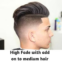 High Fade with add on to medium hair