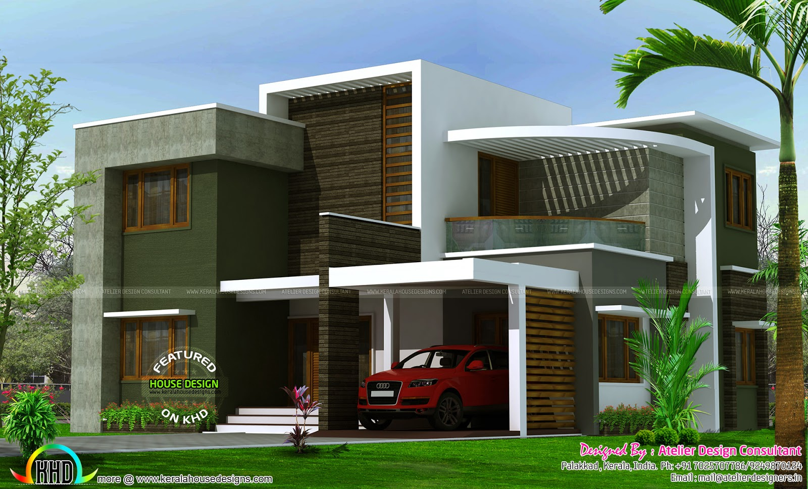 2400 sq ft contemporary box type house kerala home for Modern house plans 2400 sq ft
