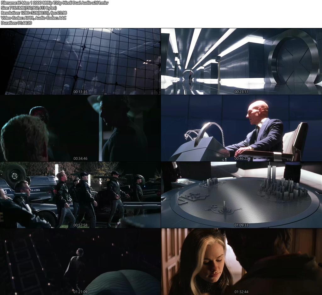 X-Men 1 2000 BRRip 720p Hindi Dual Audio x264 | 480p 300MB | 100MB HEVC Screenshot