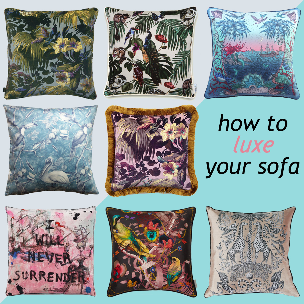 How to style your sofa with Luxury cushions, hello peagreen