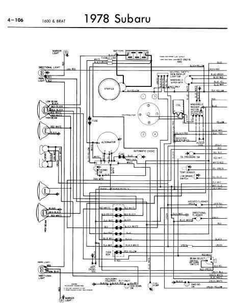 repairmanuals: Subaru 1600 BRAT 1978 Wiring Diagrams