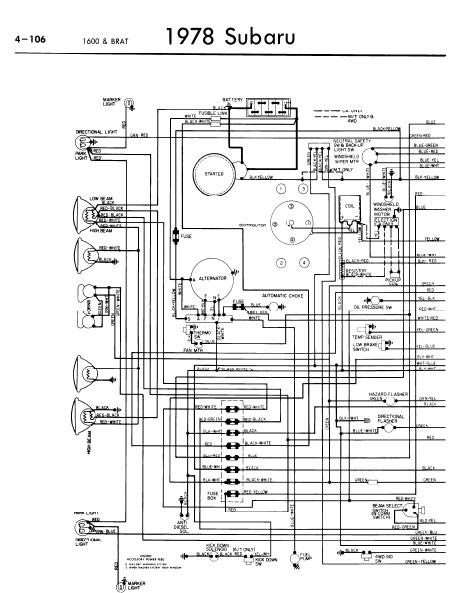 repairmanuals: Subaru 1600 BRAT 1978 Wiring Diagrams
