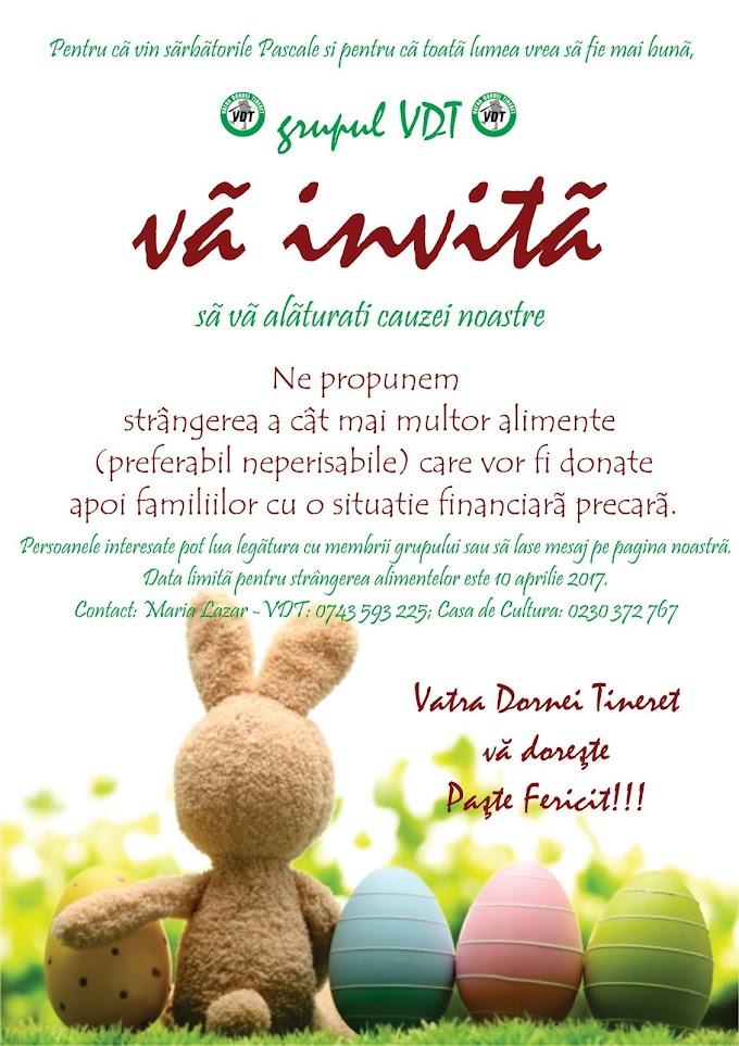 """""""De Paște, împărțim zâmbete !"""" o campanie desfășurată și în acest an de grupul VDT (Vatra Dornei Tineret)"""