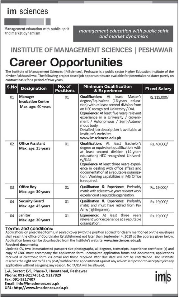 Jobs in Institute of Management Sciences Peshawar IMSP