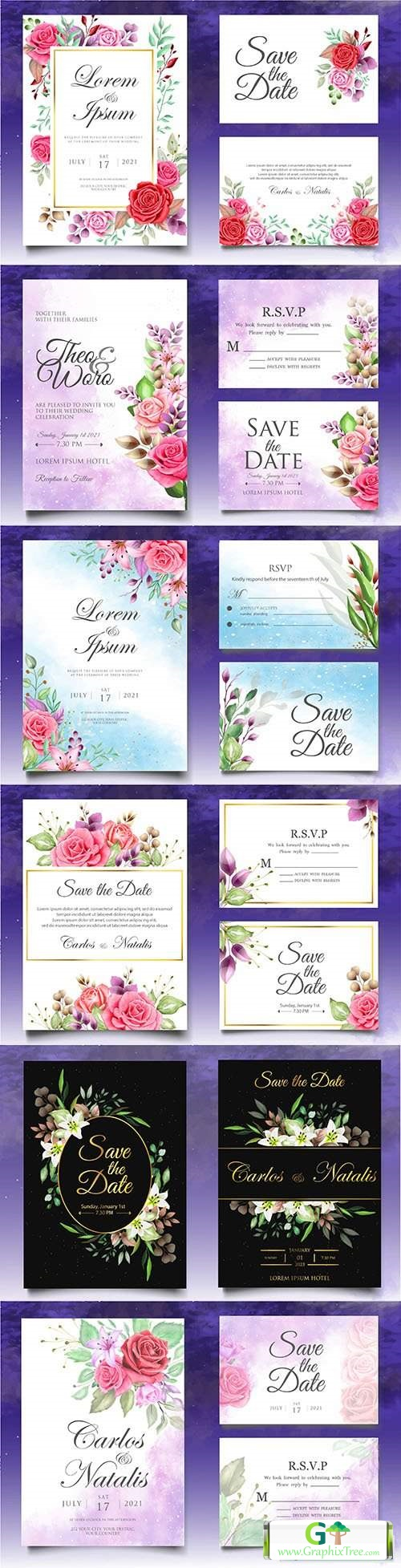 Beautiful watercolor floral template wedding invitation