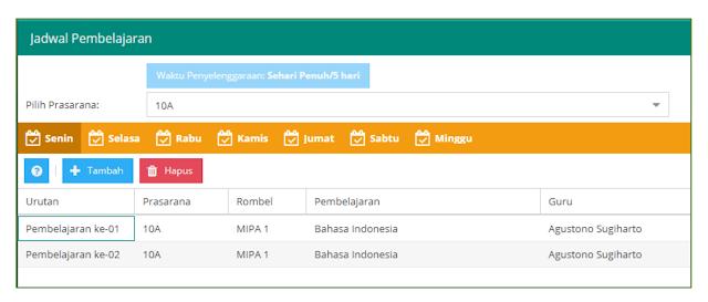 tampilan jam pelajaran bahasa indonesia di jadwal dapodik