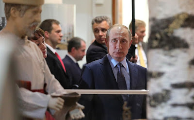 Vladimir Putin visiting the Republic of Mari El Timofei Yevseyev National Museum.