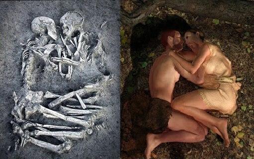 penemuan kerangka manusia pasangan kekasih yang saling berpelukan