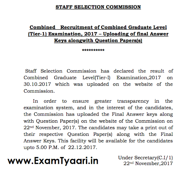 SSC CGL 2017 Tier-1 Official Answer KEY - DOWNLOAD NOW - Exam Tyaari
