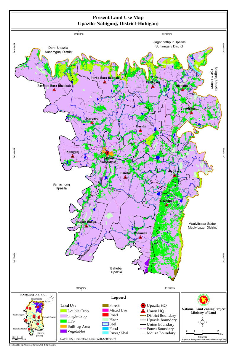 Nabiganj Upazila Mouza Map Habiganj District Bangladesh
