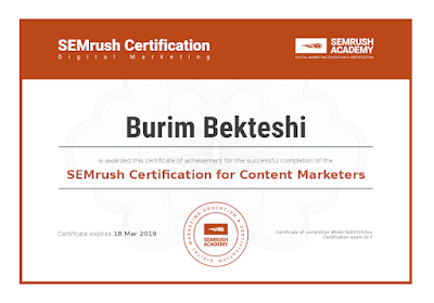 SEMrush Certification for Content Marketers