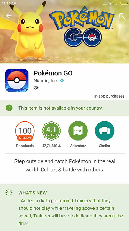 Pokemon GO this item is not available in your Country