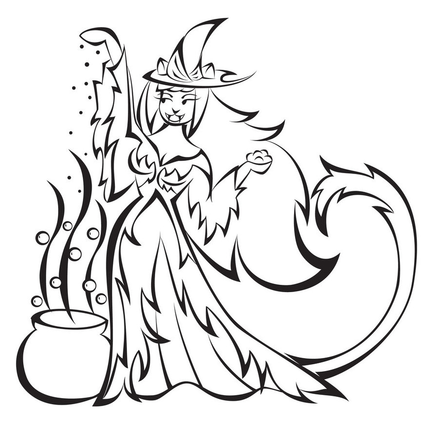Halloween Witch Coloring Page Stock Illustration - Illustration of ... | 894x894