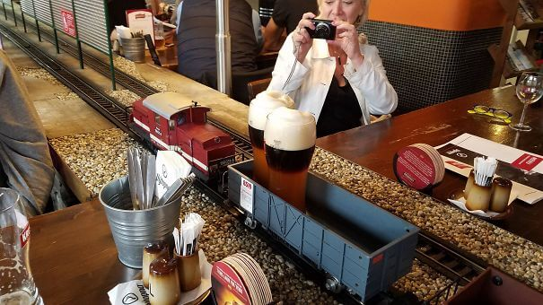 20 Innovative Food Inventions We Had Never Seen Before - A Miniature Train Delivered Our Beer At A Restaurant In Prague