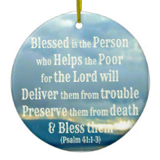 Blessed is the person who helps the poor ceramic ornament